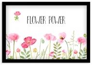 Plakat w ramce, Flower power - czarna ramka, 30x20 cm