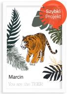 Plakat w ramce, Tygrys- biała ramka, 20x30 cm
