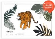 Plakat w ramce, Tygrys- biała ramka, 30x20 cm