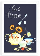 Plakat w ramce, Tea time - biała ramka, 20x30 cm