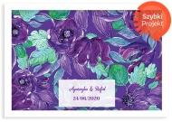 Plakat w ramce, Purpurowe kwiaty - biała ramka, 30x20 cm