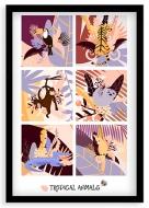 Plakat w ramce, Tropical animals - czarna ramka, 20x30 cm