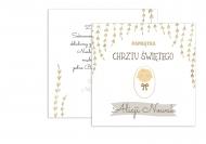 Fotokartki Chrzest - złote listki, 14x14 cm