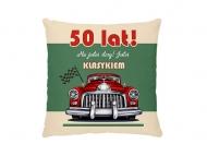 Poduszka, bawełna, 50te urodziny, 25x25 cm