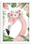 Plakat w ramce, Flaming - biala ramka, 20x30 cm