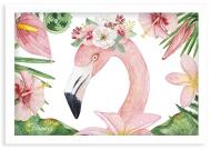 Plakat w ramce, Flaming - biala ramka, 30x20 cm
