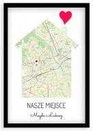 Plakat w ramce, Nasze miejsce Warszawa - czarna ramka, 20x30 cm