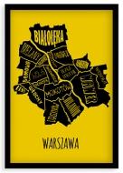 Plakat w ramce, Dzielnice Warszawy - czarna ramka, 20x30 cm