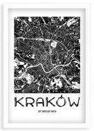 Plakat w ramce, Mapa Krakowa - biała ramka, 20x30 cm