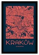 Plakat w ramce, Mapa Krakowa orange - czarna ramka, 20x30 cm