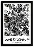 Plakat w ramce, Mapa Warszawy - czarna ramka, 20x30 cm