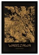 Plakat w ramce, Mapa Warszawy gold - czarna ramka, 20x30 cm