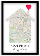 Plakat w ramce, Nasze miejsce Kraków - czarna ramka, 20x30 cm
