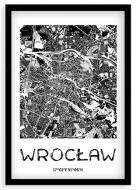 Plakat w ramce, Mapa Wrocławia - czarna ramka, 20x30 cm