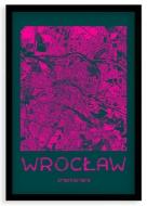 Plakat w ramce, Mapa Wrocławia pink - czarna ramka, 20x30 cm