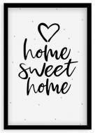 Plakat w ramce, Home Sweet Home - czarna ramka, 20x30 cm
