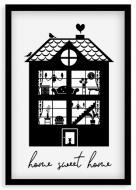 Plakat w ramce, W domu najlepiej - czarna ramka, 20x30 cm