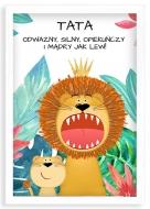 Plakat w ramce, Tata jak lew - biała ramka, 20x30 cm