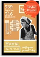 Plakat w ramce, Plakat na urodziny 18stka- czarna ramka, 20x30 cm