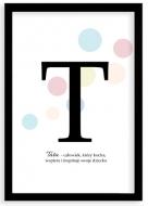 Plakat w ramce, Plakat typograficzny pastelowy Tata- czarna ramka, 20x30 cm
