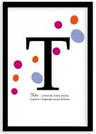 Plakat w ramce, Plakat typograficzny, kropki - Tata, czarna ramka, 20x30 cm