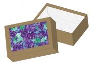 Pudełko kartonowe, Purpurowe kwiaty, 15x11 cm