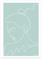 Plakat, Kolekcja Grafikk Jasikk - Nostalgia błękit, 30x40 cm