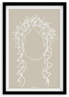 Plakat w ramce, Kolekcja Grafikk Jasikk - Szczęście beż - czarna ramka, 20x30 cm