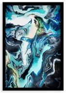 Plakat w ramce, Marmurkowy niebieski - czarna ramka, 20x30 cm