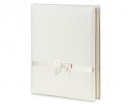 Album na zdjęcia Skórzany biały z kokardką - wyklejany, 25x30 cm