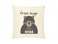 Poduszka, bawełna ekologiczna, Free Hugs, 40x40 cm