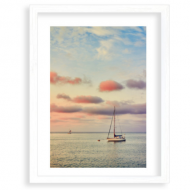 Plakat w ramce, Żaglówka na morzu, 30x40 cm