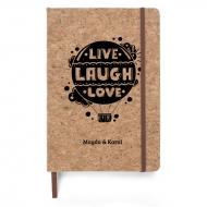 Notes korkowy Live Laugh Love, 14x21 cm