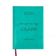 Kalendarz książkowy Napięty grafik - turkusowy, 15x21 cm