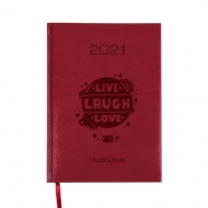 Kalendarz książkowy Live Laugh Love - bordo, 15x21 cm