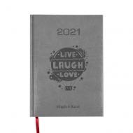 Kalendarz książkowy Live Laugh Love - szary, 15x21 cm