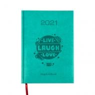 Kalendarz książkowy Live Laugh Love - turkusowy, 15x21 cm