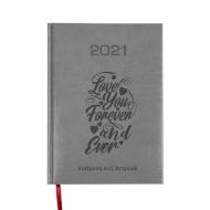 Kalendarz książkowy Love forever - szary, 15x21 cm