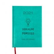 Kalendarz książkowy Genialne pomysły - turkusowy, 15x21 cm