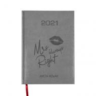 Kalendarz książkowy Mrs always right - szary, 15x21 cm