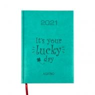 Kalendarz książkowy Lucky day - turkusowy, 15x21 cm