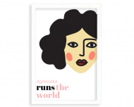 Plakat w ramce, Runs the world - brunetka - biała ramka, 20x30 cm