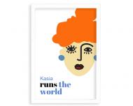 Plakat w ramce, Runs the world - ruda - biała ramka, 20x30 cm