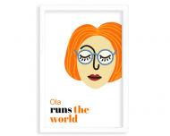 Plakat w ramce, Runs the world - ruda w okularach - biała ramka, 20x30 cm