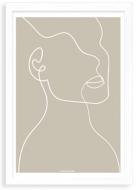 Plakat w ramce, Kolekcja Grafikk Jasikk - Duma beż - biała ramka, 20x30 cm