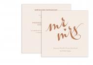 Zaproszenia Rustykalne - Mr & Mrs, 14x14 cm