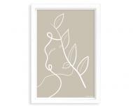 Plakat w ramce, Kolekcja Grafikk Jasikk - Równowaga beż - biała ramka, 20x30 cm