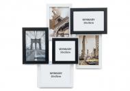 Ramka na zdjęcie 6 zdjęć biało-czarna, 40x40 cm