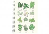 Notes Kolekcja Długopisem Malowane - Mix roślin - kratka, 15x21 cm