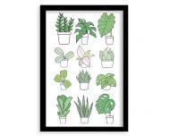 Plakat w ramce, Kolekcja Długopisem Malowane - Mix roślin - czarna ramka, 30x40 cm